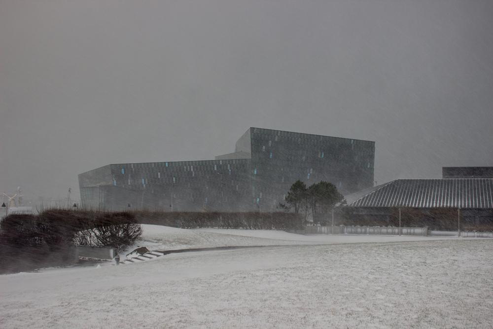 Harpa Reykjavik snow storm December