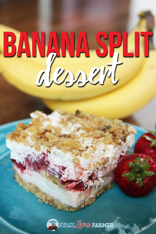 No-Bake Banana Split Dessert. A buttery graham crust, buttercream layer, thawed frozen strawberries, bananas and crushed pineapples topped with Cool Whip and covered in chopped walnuts. YUMMY!!! A great dessert for any occasion and potlucks!