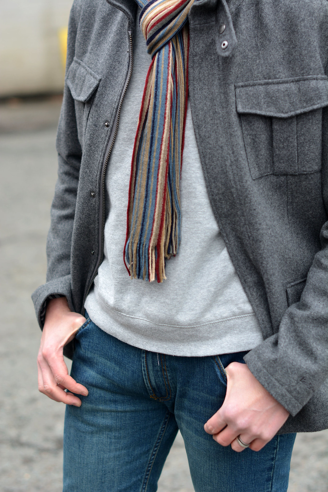 How to wear not-too-skinny skinny jeans: Grey wool jacket \ baseball cap \ striped scarf \ desert boots | Silver Londoner, over 40 menswear