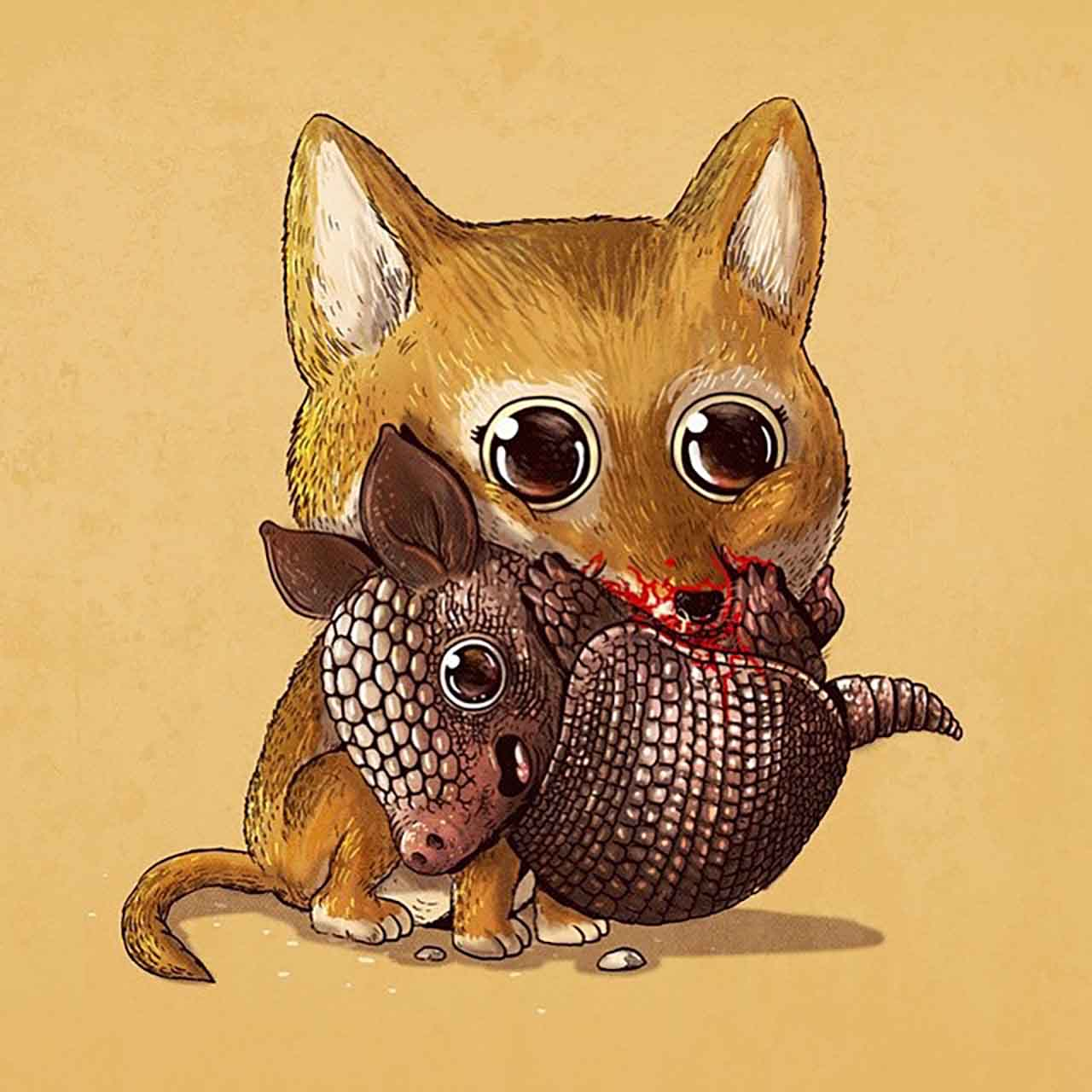 "Artist Creates Extremely Adorable ""Predator & Prey"" Illustrations #14: Coyote & Armadillo"