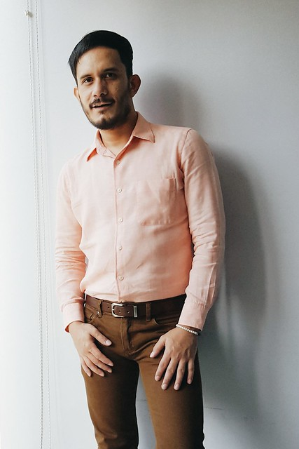 halfwhiteboy - linen peach shirt and brown pants 04