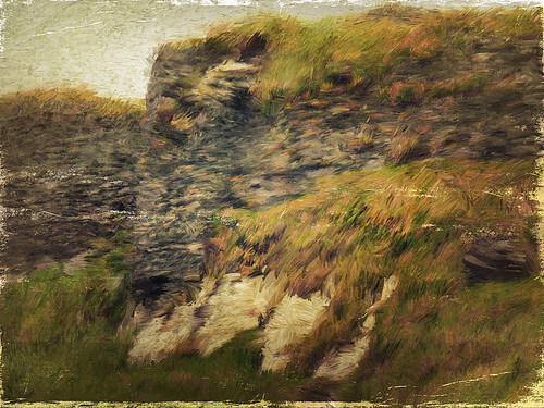 Stone wall of castle ruins at Galley Head in Ireland painted in the photo app Psykopaint & Stackables