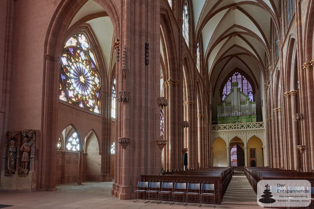 Katharinenkirche Oppenheim: Hauptschiff mit Oppenheimer Rose und Orgel-Empore