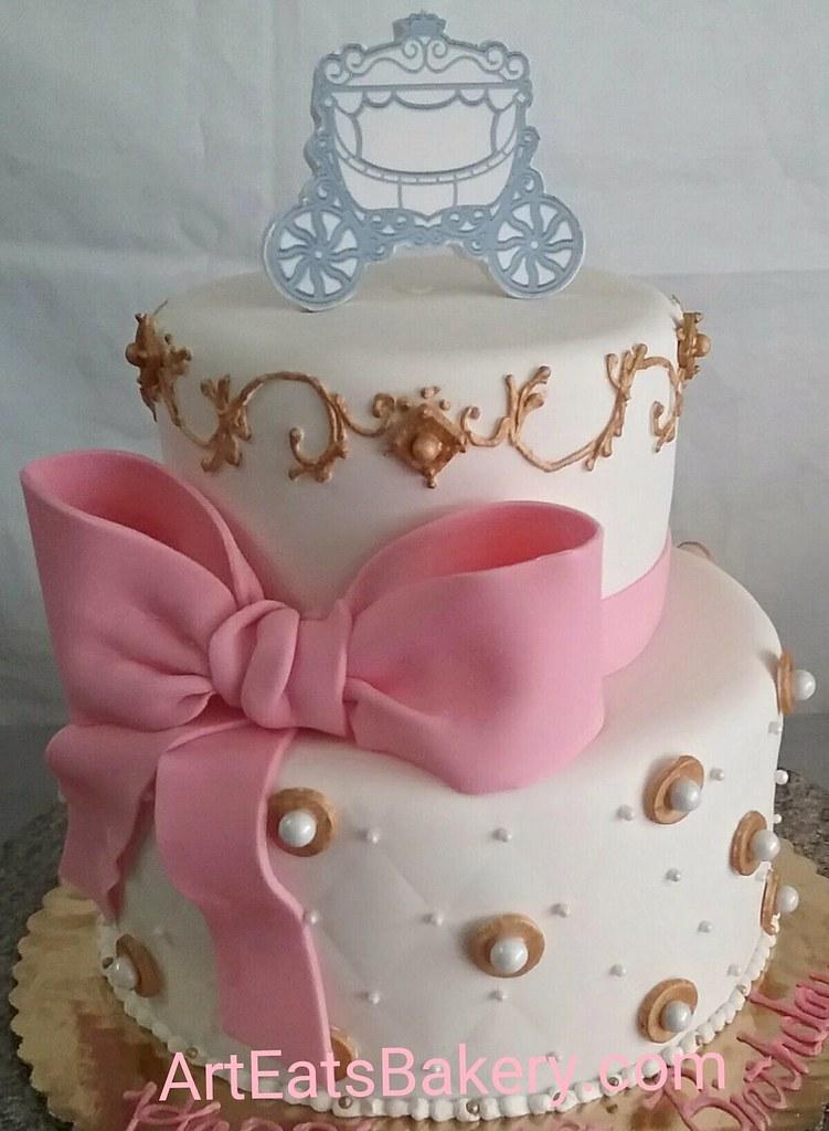Two tier custom fondant girls birthday cake with gold pip Flickr