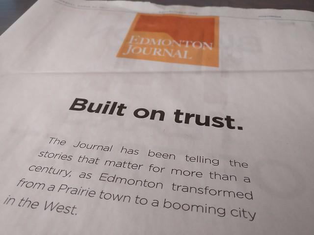 "Edmonton Journal ""Built on trust"" campaign"