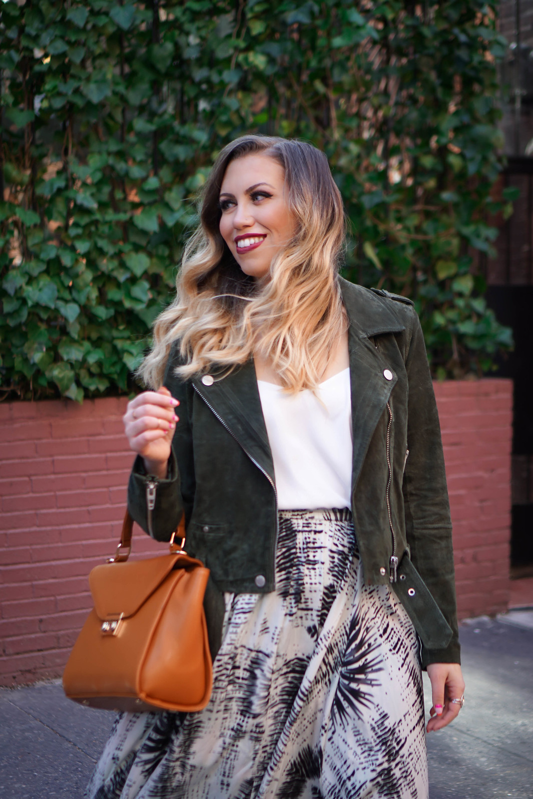 How to Wear Suede in Spring | BLANKNYC Suede Moto Jacket | Topshop Rouleau Swing Camisole