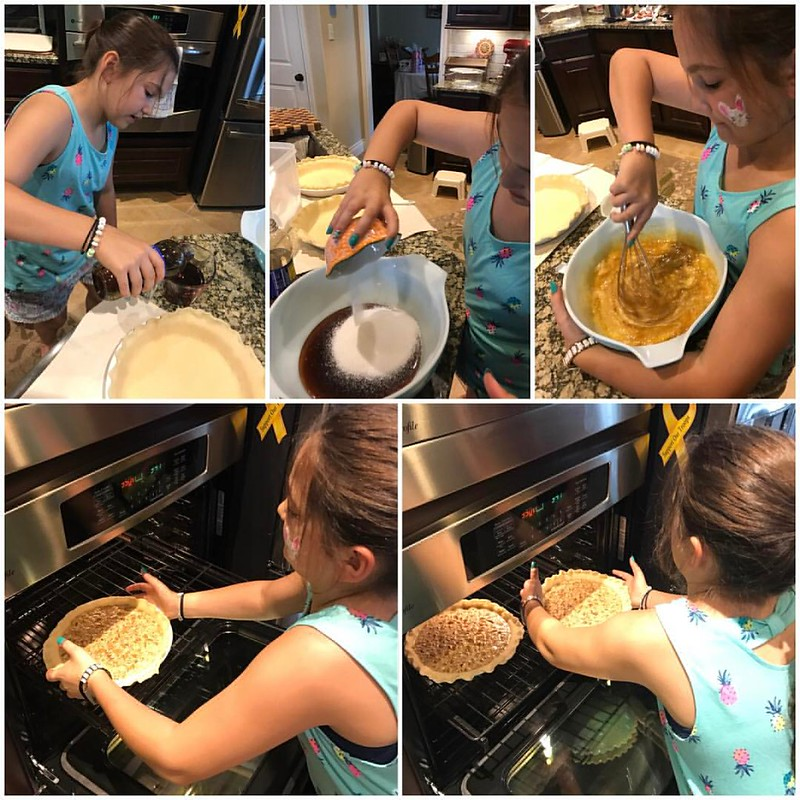 Emma's making pecan pies at Tera's for Easter tomorrow! #makingmemories #happyeaster #lovemyfamily