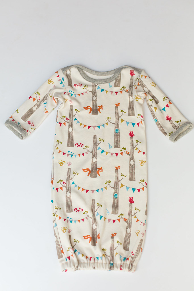 newborn gown in woodland party birch knit | www.stitched-tog… | Flickr