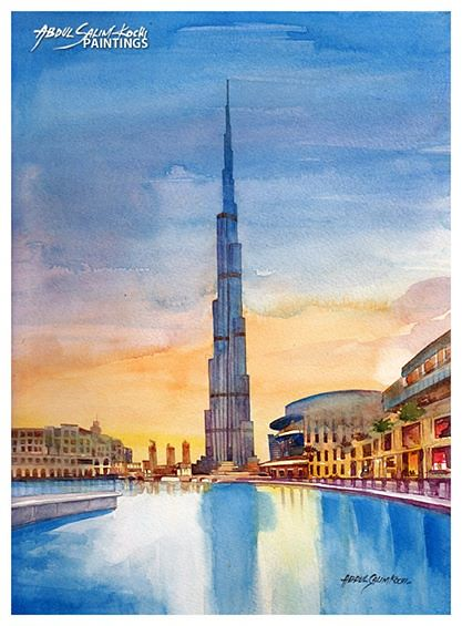 burj khalifa watercolor abdul salim kochi available