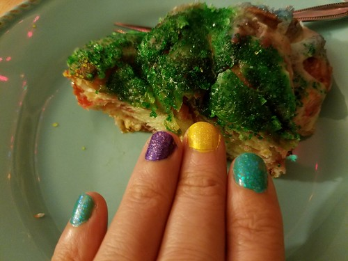 King Cake and Mardi Gras Nails
