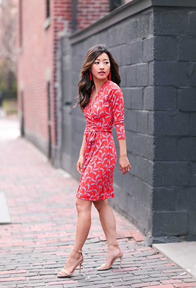 spring outfits red print wrap dress petite style blog