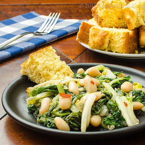 Braised Greens with White Beans