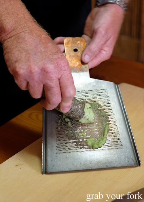 Grating fresh wasabi at Masaaki's Sushi in Geeveston, Tasmania