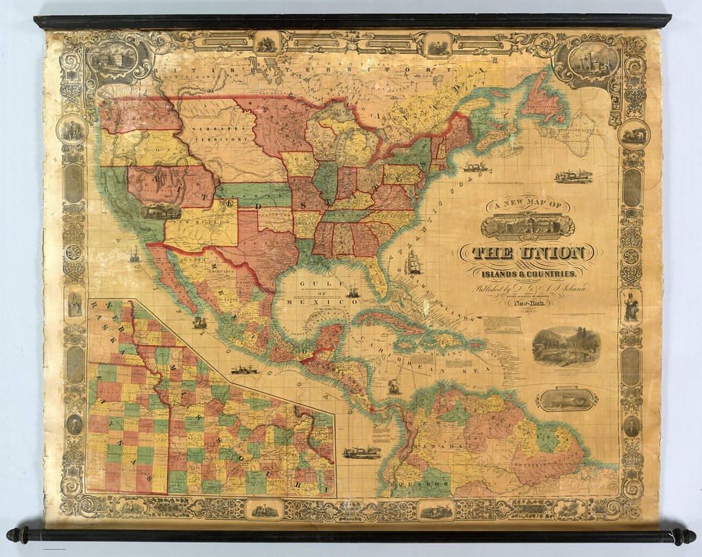 Map of the United States of America, Central America and northern South America (1857)