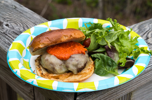 Burger with cheddar and Romesco sauce (Project 365: 123/365) | by tehchix0r