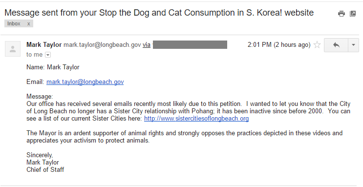 The mayor of Long Beach, California responds with support for our campaign against the South Korean dog and cat meat industry.