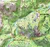 Carte de la région de Ghisoni avec le Kyrie Eleison, les voies de montée - descente par Cavu/Vaglie et la voie normale en pointillés