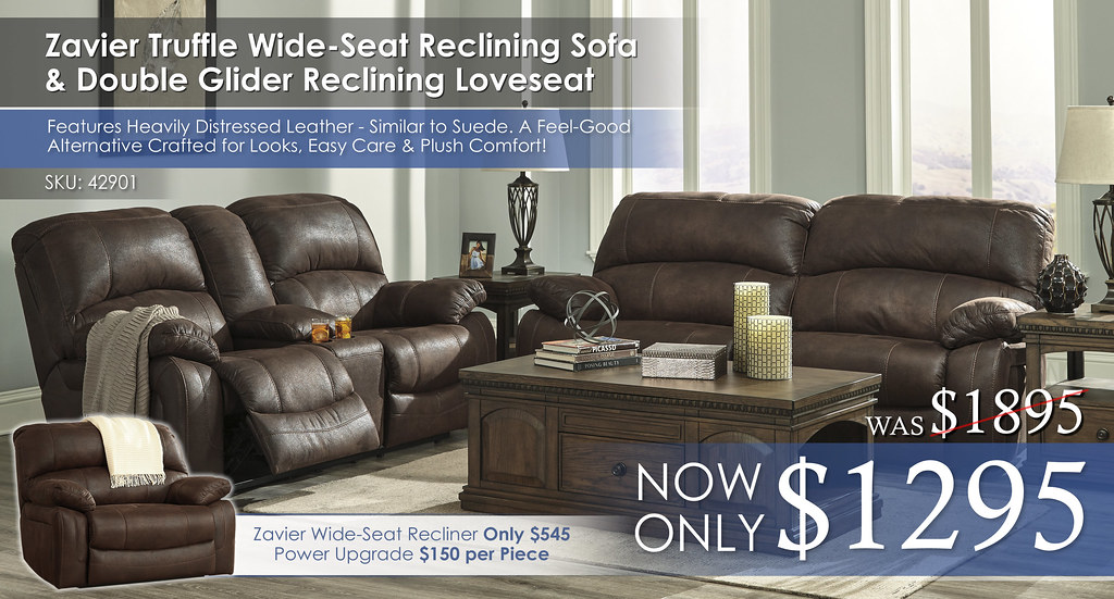 Zavier Truffle Wide Reclining Set 42901