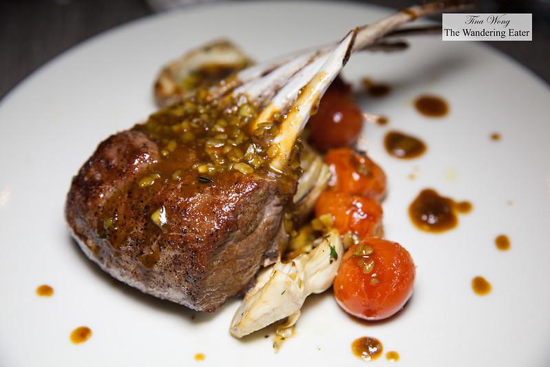 Pan seared rack of lamb, sauteed artichoke, roasted cherry tomatoes, almond mint sauce