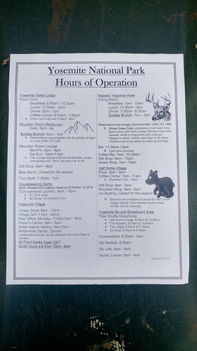 Yosemite Hours of Operation in Mid-March