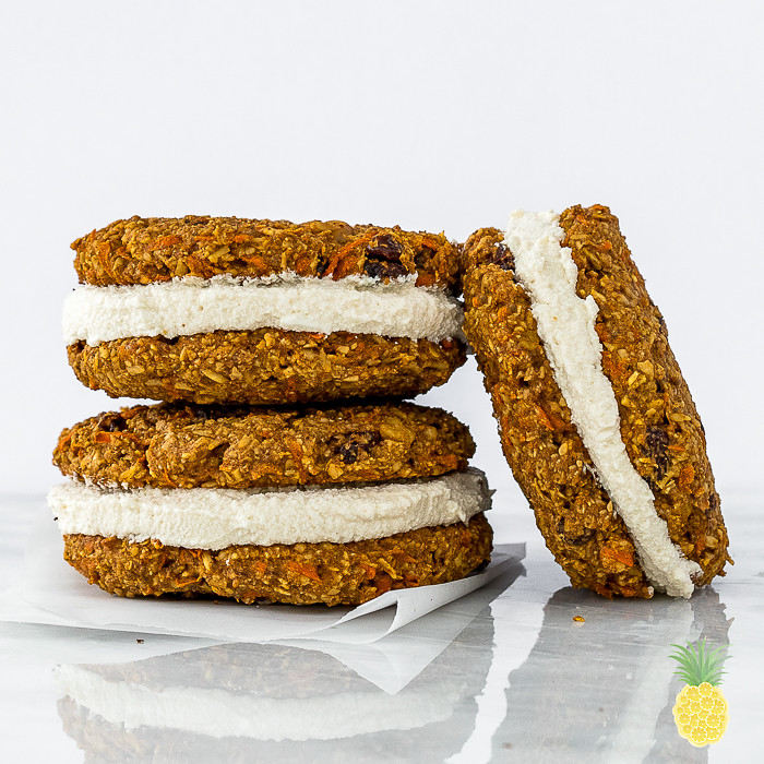 Vegan Carrot Cake Cookie Sandwiches + Coconut Cream Cheese Filling {oil-free} sweetsimplevegan.com #VEGAN #carrotcake #carrotcakecookies #guiltfree #easter #veganeaster