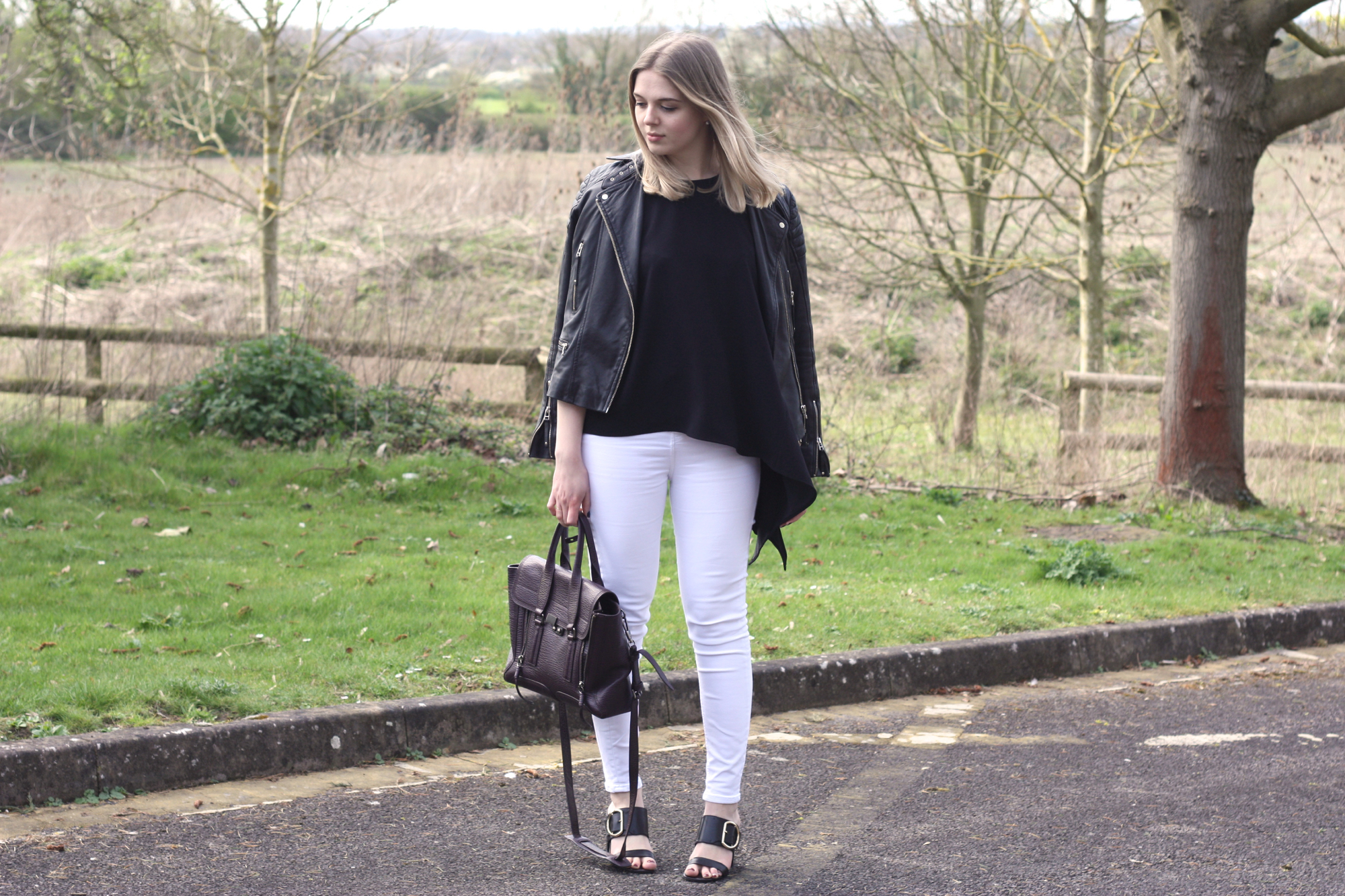 Great Plains black Lola top, Topshop white Jamie jeans and 3.1 Phillip Lim Pashli bag