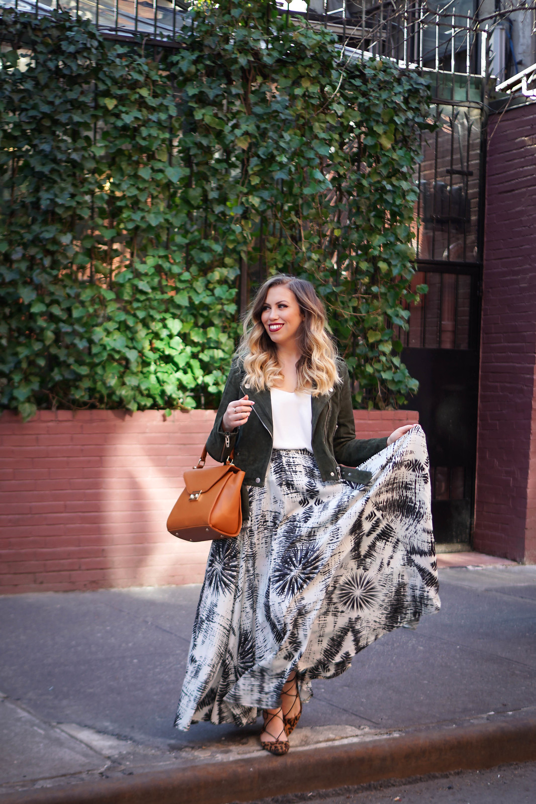 How to Wear Suede in Spring | BLANKNYC Suede Moto Jacket | Maxi Skirt in NYC