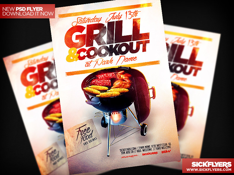 bbq cookout flyer template psd download psd here sickflyer flickr