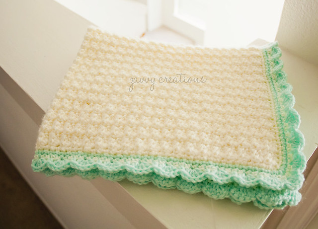 Mint and Cream Baby Blanket - Wide Fold