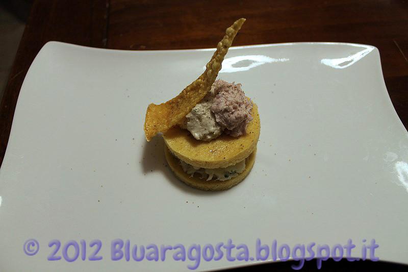 02-polenta e baccalà con due mousse e chips di polenta