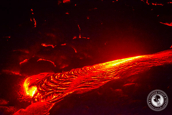 Lava Flowing From Kilauea Volcano Big Island Hawaii
