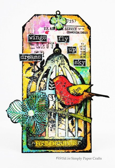 Meihsia Liu Simply Paper Crafts Mixed Media Tag Bird Cage Wings Tim Holtz Simon Says Stamp 1