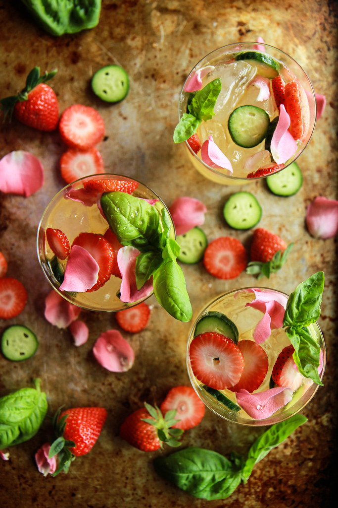 Strawberry Basil Cucumber Rose Sangria from HeatherChristo.com