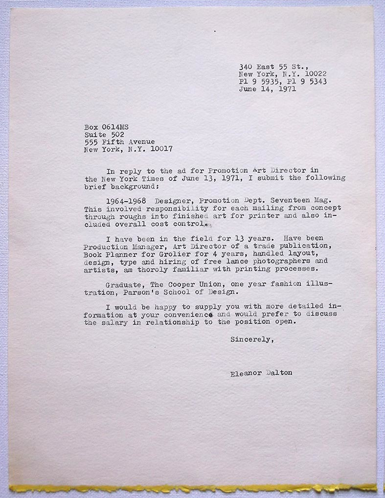 Dalton12 | Eleanor Dalton's cover letter 1971 * Courtesy of … | Flickr