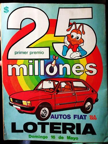 Fiat 147, aviso Lotería (Chile) - 1982
