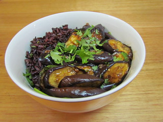 Spicy Chile-Garlic Eggplant & Black Rice