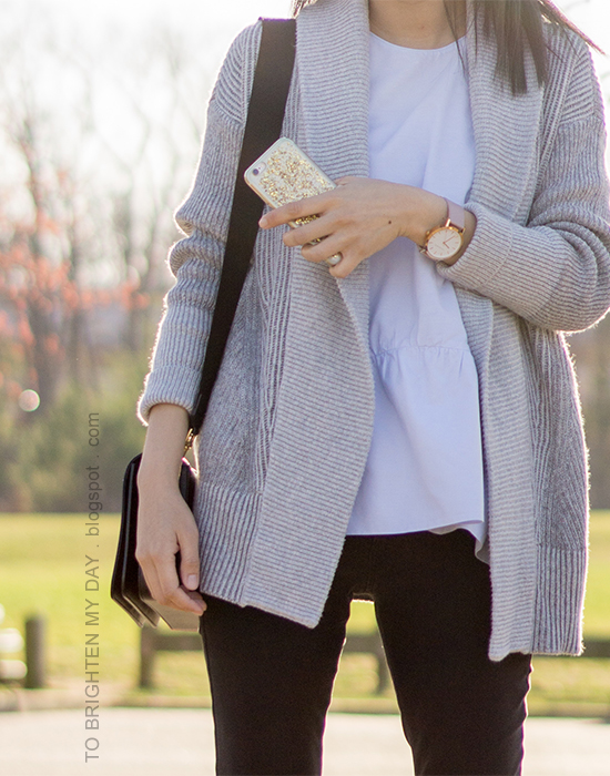 gray coatigan sweater, baby blue peplum top, black skinny jeans, black shoulder bag, oversized watch