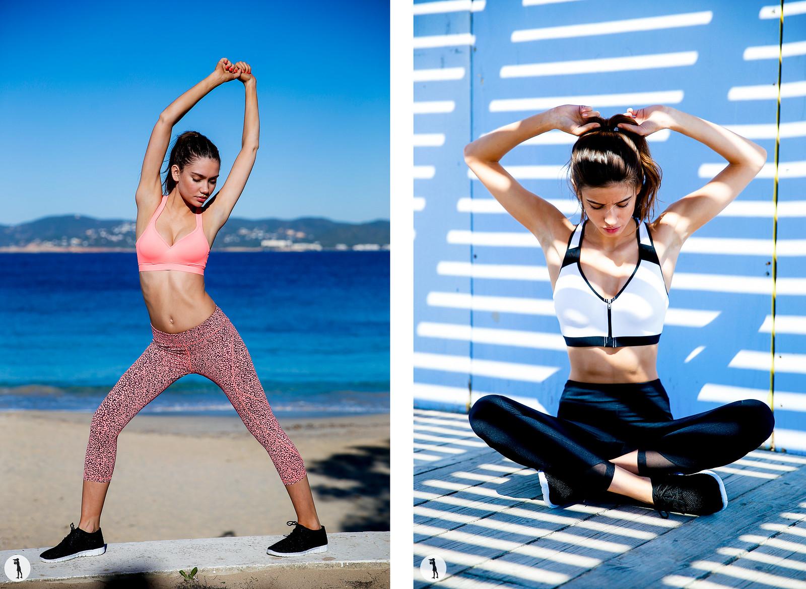 Photo Shooting ETAM, Ibiza. Street style, gamme sportswear porté sur modèle.