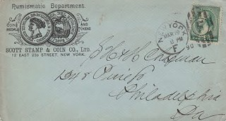 Scott Stamp and Coin envelope March 19, 1890