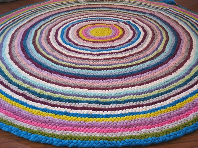 New 6 Ft Round Area Braided Rug In Magenta Turquoise Bu