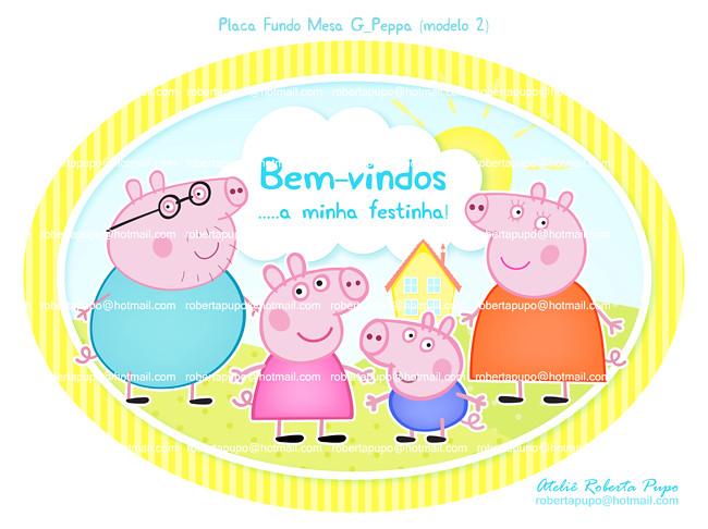 ... Placa/ Painel Fundo de Mesa G (unissex)_Kit Peppa Pig {modelo 2
