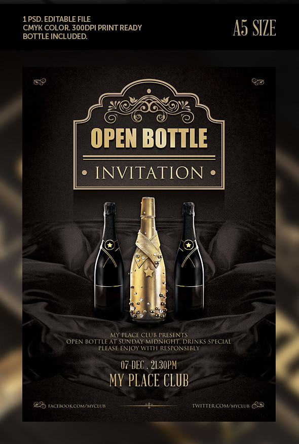 Classy Open Bottle Invitation Flyer Template Psd Download | Flickr