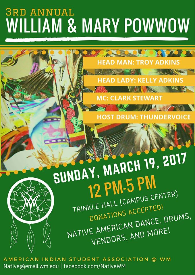 Poster for the Third Annual William & Mary Powwow