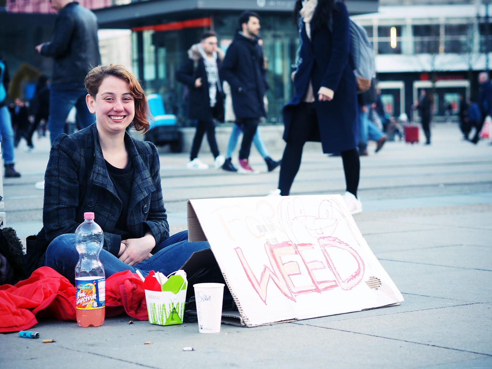Girl Busking for Weed Berlin Streets Hipster_effected