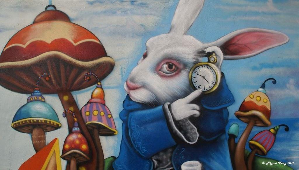 Grafitti el conejo blanco alicia en el pa s de las mar flickr - Conejo de alicia en el pais de las maravillas ...