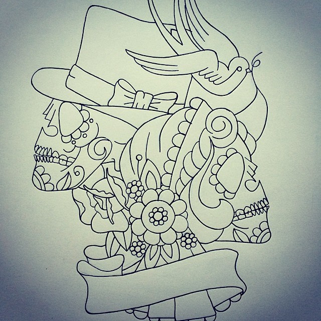 New Bride and Groom sugar skull design for the lovely Char Flickr