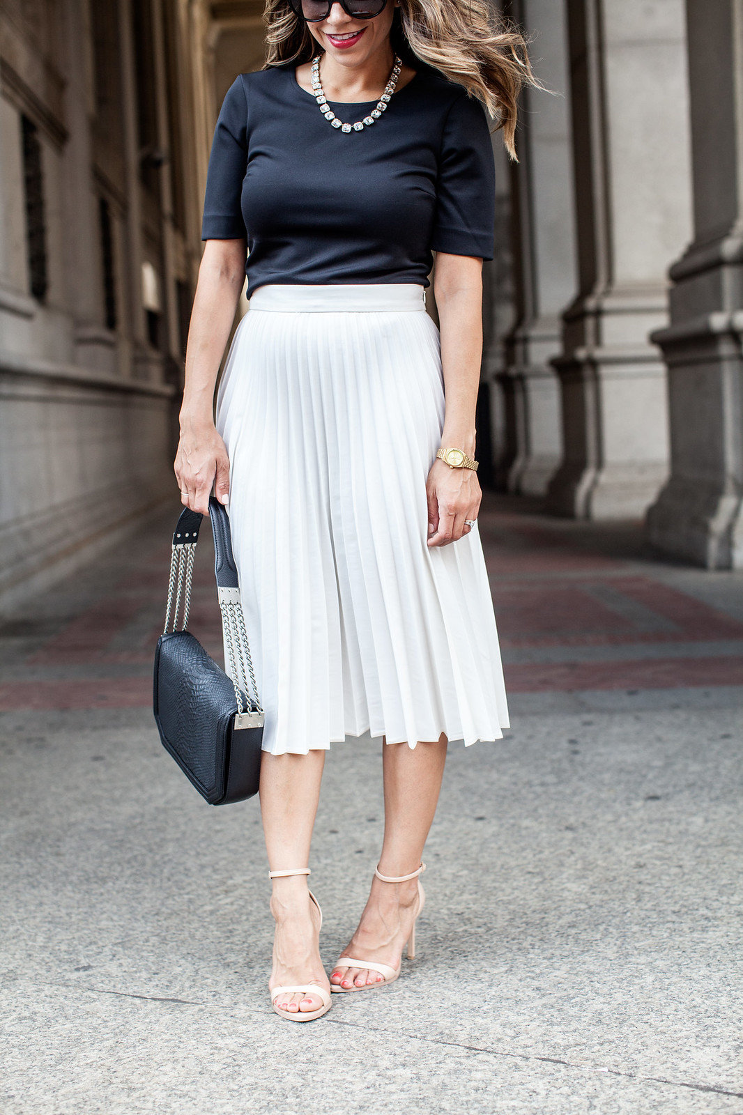 What To Wear To Work White Pleated Skirt Black Top