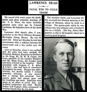 19th May 1935 - Death of T.E. Shaw - Lawrence of Arabia | by Bradford Timeline