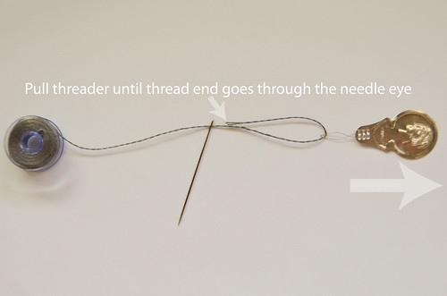 How To Thread a Needle: 5 Pull threader until thread end goes through the needle eye