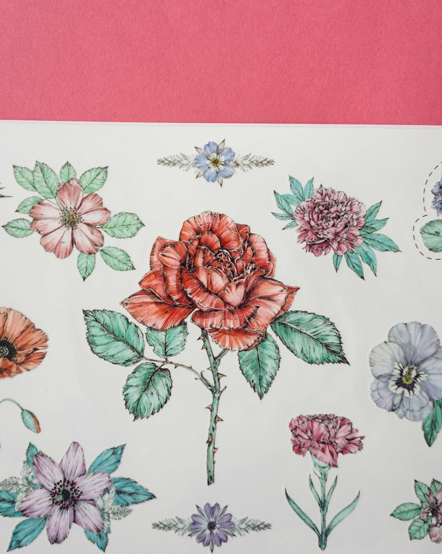 page of illustrated floral tattoos